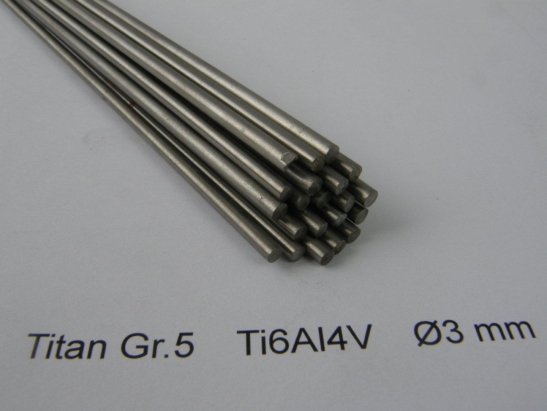 Grade 5 ELI Titan Rund Dia 3 x L1000 mm Stab